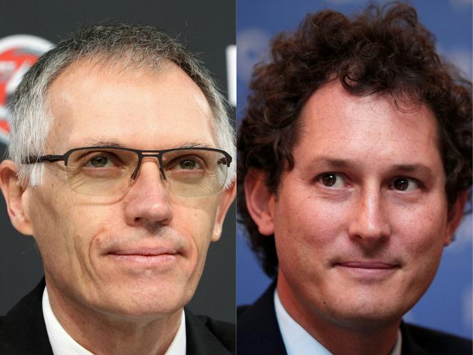 Carlos Tavares (à gauche), actuel président-directeur général de PSA, et John Elkann, président de Fiat Chrysler Automobiles, doivent respectivement devenir PDG et président du conseil d'administration de Stellantis.
