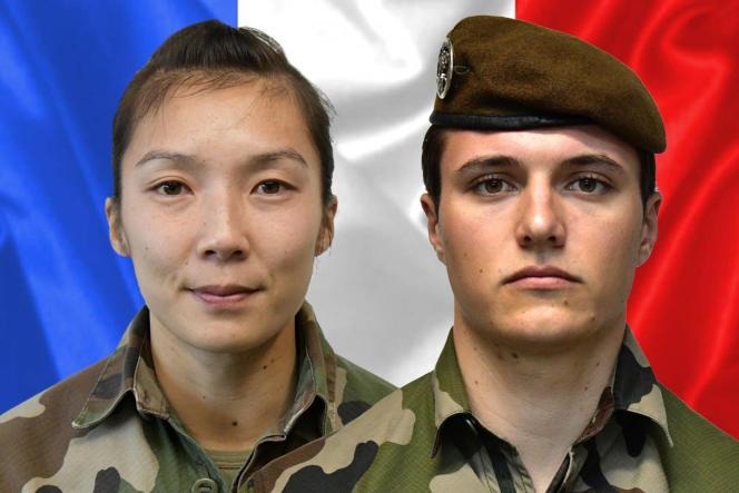Le sergent Yvonne Huynh et le brigadier Loïc Risser, de la force « Barkhane», tués le 2 janvier 2021 par un engin explosif dans la région de Ménaka, au Mali.