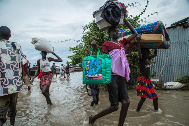 پس از سیل در روستای بور ، سودان جنوبی ، در آگوست سال 2020.