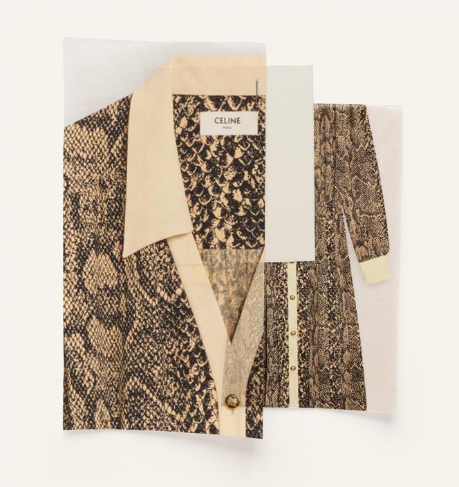 Robe chemise imprimé serpent, Celine par Hedi Slimane, 2800€.