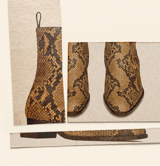 Bottines Wyatt, zippées en python, Saint Laurent par Anthony Vaccarello, 1595€.