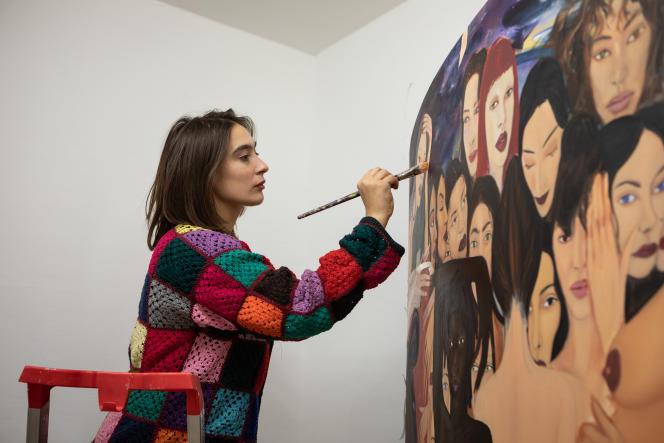 La peintre Apolonia Sokol, en janvier, à laFondazione Memmo à Rome.