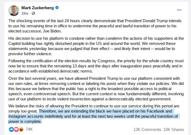 Le message de Mark Zuckerberg annonçant la suspension des comptes de Donald Trump sur Facebook et Instagram, le jeudi 7 janvier.