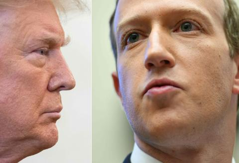 """(COMBO) This combination of file pictures created on January 07, 2021 shows US President Donald Trump (L) in Washington, DC on December 7, 2020, and Facebook Chairman and CEO Mark Zuckerberg in Washington, DC on October 23, 2019. Facebook banned Trump from the platform """"indefinitely"""" due to the US leader's efforts to incite the violence in the US capital this week, chief executive Mark Zuckerberg said on January 7, 2021. Zuckerberg said on his Facebook page that the ban, which was announced Wednesday for 24 hours, was extended because of Trump's """"use of our platform to incite violent insurrection against a democratically elected government."""" / AFP / SAUL LOEB AND MANDEL NGAN"""