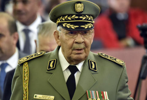 Lieutenant general Ahmed Gaid Salah, Algerian armed forces chief, attends the formal presidential swearing-in ceremony in the capital Algiers on December 19, 2019. - The 74-year-old Tebboune, a former prime minister seen as close to the country's powerful military chief, reportedly garnered 58.13 percent of votes in the first ballot of a highly contested presidential election, according to the announced final results. He said after his victory he was ready for dialogue with a months-long protest movement that toppled his predecessor Abdelaziz Bouteflika. (Photo by RYAD KRAMDI / AFP)