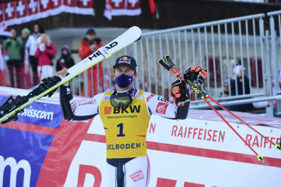 France's Alexis Pinturault celebrates after winning an alpine ski, men's World Cup giant slalom, in Adelboden, Switzerland, Friday, Jan.8, 2021. (AP Photo/Marco Tacca)