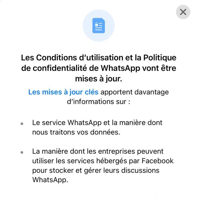 Mise à jour des conditions d'utilisation WhatsApp.