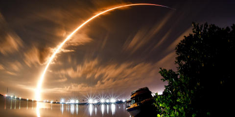 A three minute time exposure shows the launch of a SpaceX Falcon 9 from Cape Canaveral Space Force Station Launch Complex 40, Thursday, Jan. 7, 2021 in Port Canaveral, Fla.. The rocket is carrying the Turksat 5A satellite for Turkey. (Malcolm Denenark/Florida Today via AP)