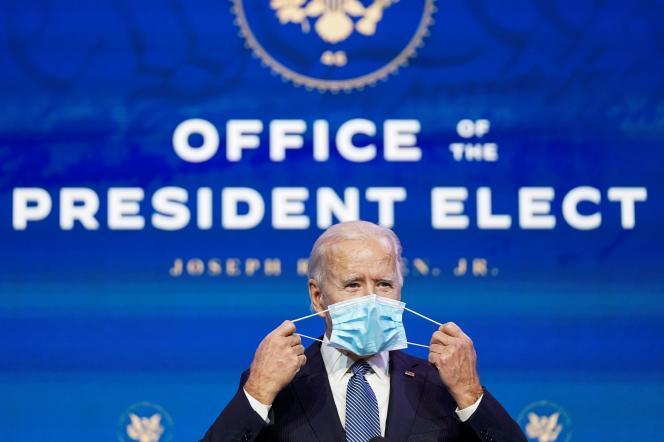 Le président américain élu Joe Biden lors d'une conférence de presse le7 janvier à Wilmington (Delaware).
