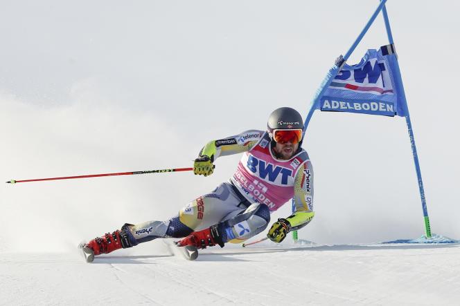 Aleksander Aamodt Kilde lors du slalom géant d'Adelboden, en Suisse, le 9 janvier.