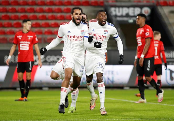 Le Lyonnais Jason Denayer exulte en égalisant face à Rennes, samedi 9 janvier.