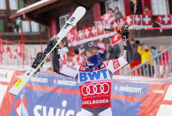 Alexis Benturo après sa deuxième victoire en deux jours à Adelboden