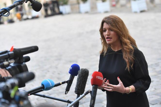 La ministre déléguée à la citoyenneté, Marlène Schiappa, le 25 novembre 2019 à l'hôtel Matignon.