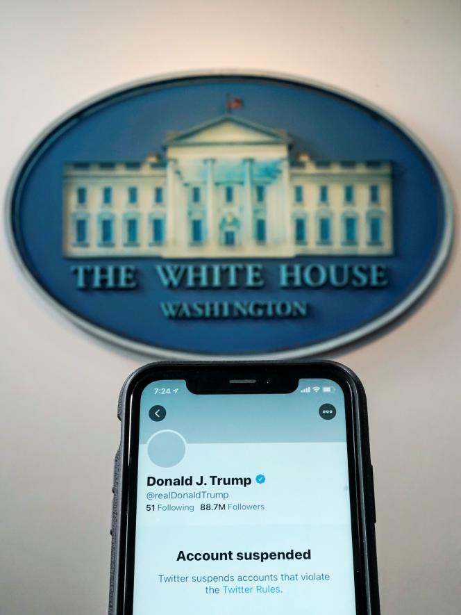 Après la suspension du compte Twitter personnel de Donald Trump, à Washington, le 8janvier2021.