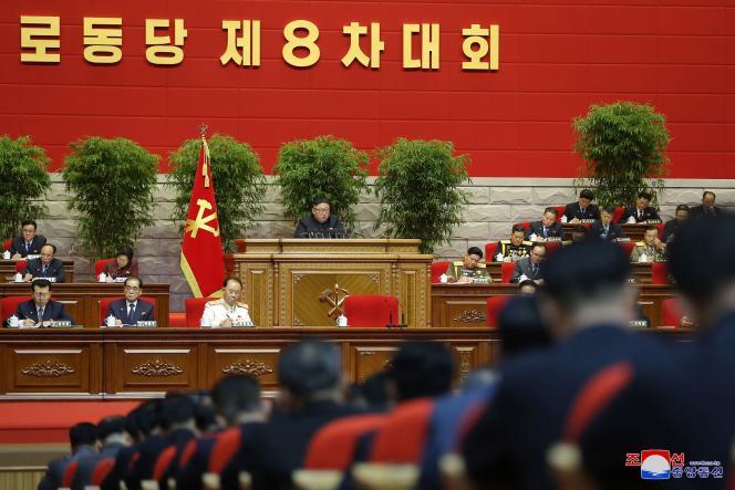 Kim Jong-un, lors du 8e Congrès du parti au pouvoir, le 11 janvier à Pyongyang (Corée du Nord).