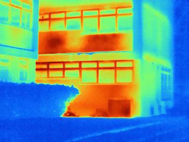 Image thermique d'un bâtiment.
