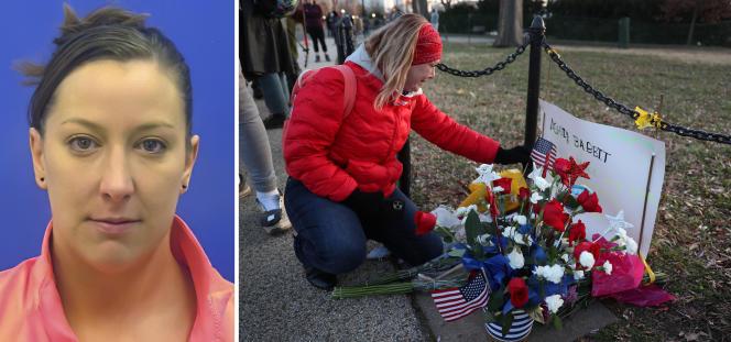 Photo non datée d'Ashli Babbitt sur son permis de conduire. Un mémorial pourAshli Babbitt, devant le Capitole, le 7 janvier à Washington DC.