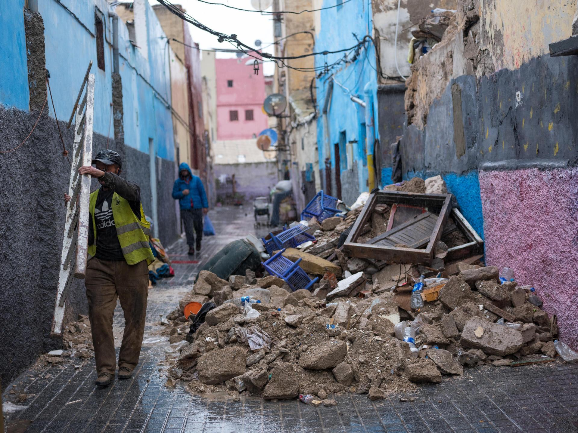 En plein quartier de la médina, une maison s'est effondrée après de fortes pluies.