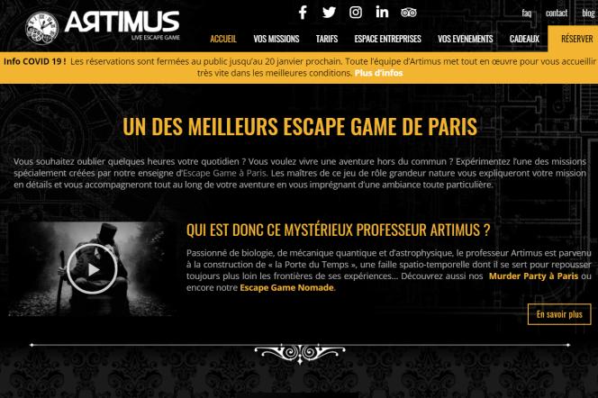 Capture d'écran, prise le 11janvier2021, du site Internet de l'enseigne Artimus, installée dans le 20earrondissement de Paris.