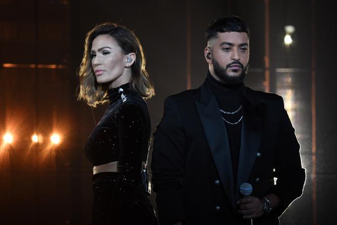 Vitaa et Slimane aux 35es Victoires de la Musique, le 14 février 2020, à Boulogne-Billancourt (Hauts-de-Seine).