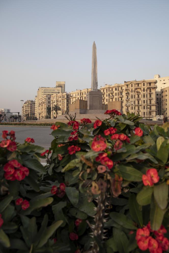 La place Tahrir, au Caire, le 10 janvier 2021. Ce lieu emblématique de la révolution égyptienne de 2011 est en train d'être réaménagé. Un obélisque a notamment été installé en son centre.
