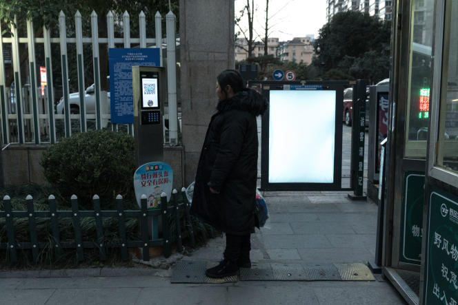 Facial recognition device at the entrance of a residential complex in Hangzhou, China on January 9, 2021.