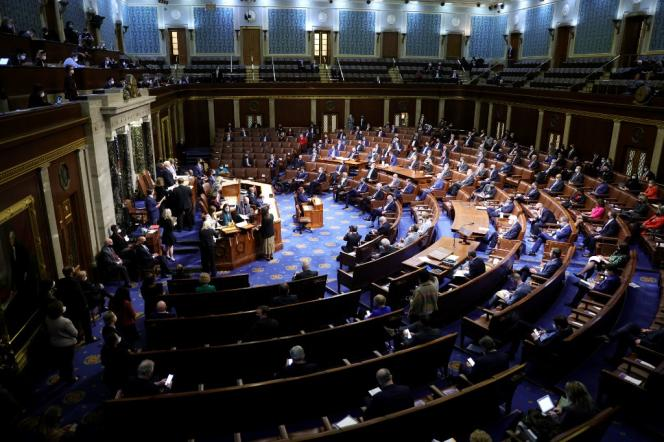 The US Congressional House of Representatives, on Capitol Hill, a few minutes before the building was invaded by supporters of Donald Trump on January 6.  The lower house of Congress approved the second indictment of the Republican president on Wednesday, January 13.