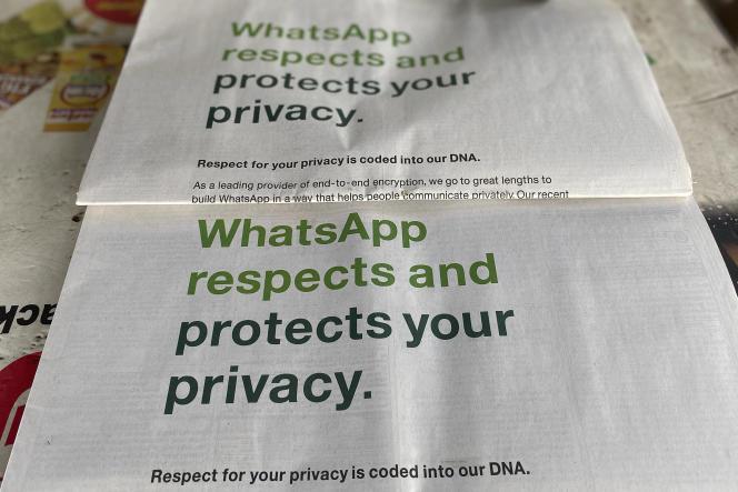 Publicité pour WhatsApp, en Inde, le 13 janvier 2021.