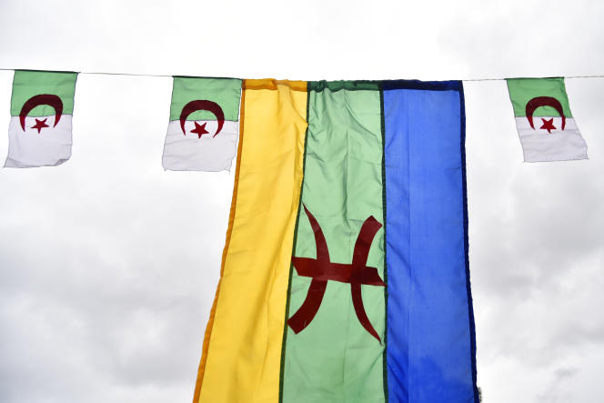 Berber and Algerian flags in Tizi-Ouzou, during the celebration of