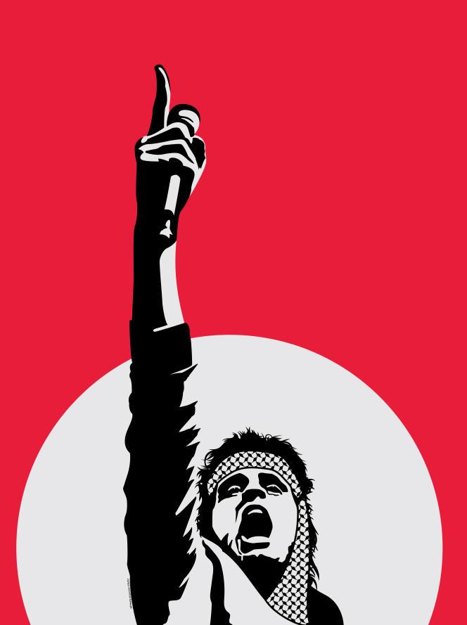 Affiche représentant Abdel Basset Sarout, footballeur syrien devenu en 2012 chef rebelle de la guerre civile, icône de la révolution.