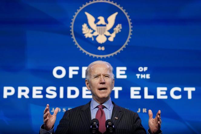 Le présiedent élu, Joe Biden,àWilmington (Delaware), le 8 janvier.