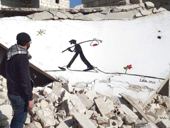 Photo d'une œuvre basée sur une peinture de l'artiste Juan Zero, apposée sur un mur d'Idlib et conservée numériquement sur le site Creative Memory.