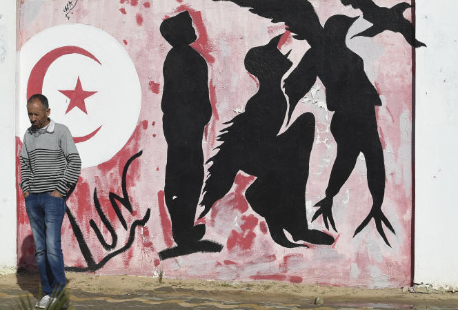 نقاشی دیواری در میدان محمد-بوعزیزی ، در سیدی بوزید ، در اکتبر سال 2020.