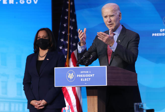 Joe Biden, President-elect of the United States, and Kamala Harris, Vice-President-elect, at The Queen Theater in Wilmington, Del., January 8, 2021.