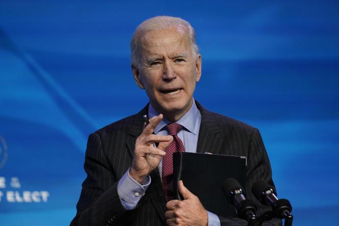 Le président élu, Joe Biden, à Wilmington, le 8janvier.