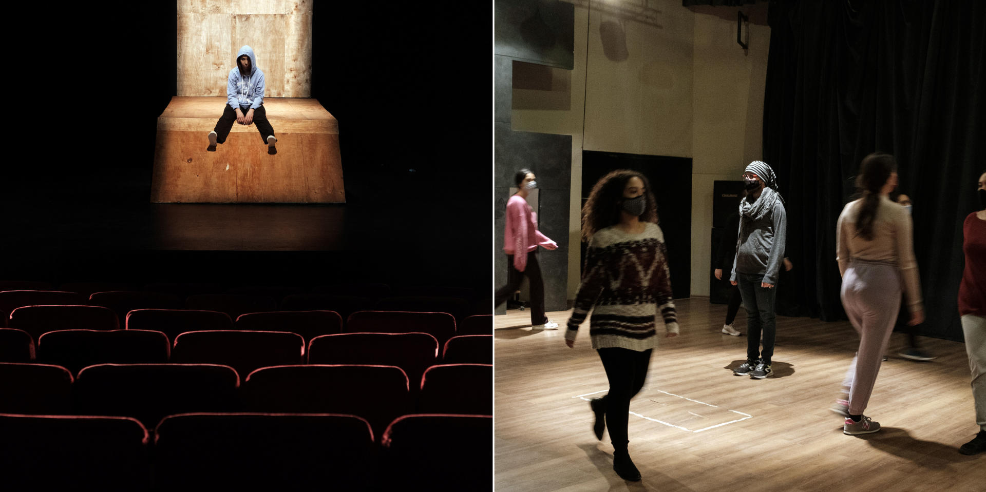 Amel Laouini, danseuse et chorégraphe, en répétition pour la pièce «Couleur pourpre», de Nawfel Azara, qui traite de la migration clandestine chez de jeunes tunisiens.Tunis, le 13 janvier 2021.