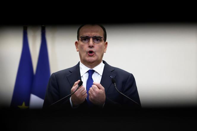 Le premier ministre, Jean Castex, durant la conférence de presse du 14 janvier à Paris.