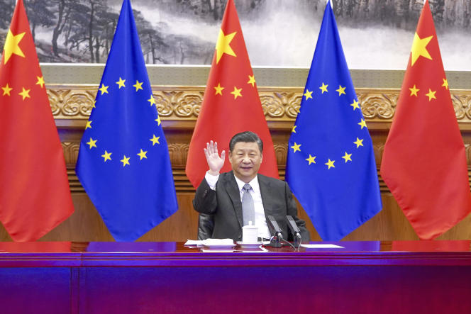 Chinese President Xi Jinping in Beijing during a video conference with European leaders on December 30, 2020.