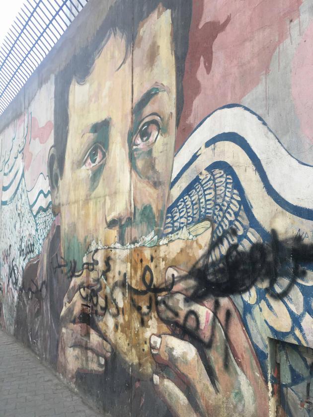 یکی از معدود نقاشی های دیواری به جا مانده از انقلاب بر روی دیوارهای دانشگاه آمریکایی در قاهره.  9 ژانویه