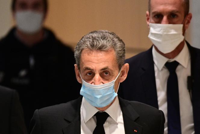 Nicolas Sarkozy le 7 décembre 2020 à son procès pour corruption au tribunal de Paris.