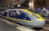 "(FILES) In this file photograph taken on December 10, 2020, shows a Eurostar train at Gare du Nord in Paris. Eurostar, the train operator that runs services through the Channel Tunnel, is in ""a very critical"" state after a collapse in travel between Britain and the European continent, a top French rail executive warned on January 15, 2021. / AFP / ERIC PIERMONT"