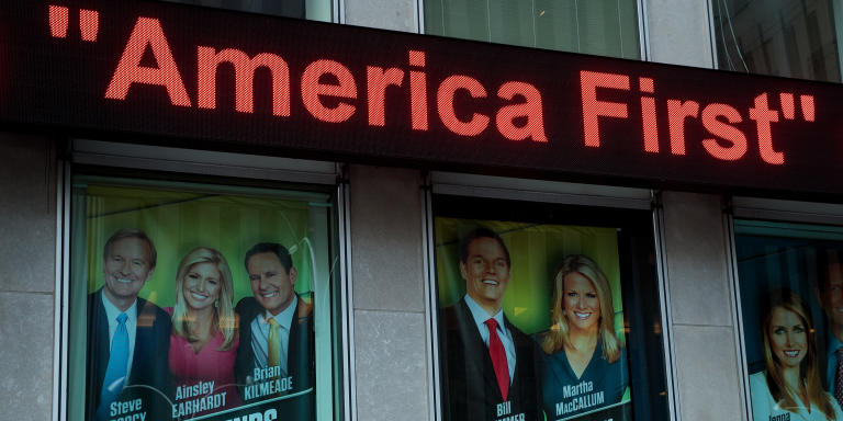 NEW YORK, NY - FEBRUARY 17: At left, an advertisement for 'Fox And Friends' is displayed outside of the Fox News studio, February 17, 2017 in New York City. President Trump, a frequent consumer and critic of cable news, recently tweeted that Fox and Friends is 'great'.   Drew Angerer/Getty Images/AFP