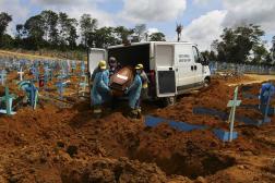 Enterrement d'une personne de 89 ans morte des suites du Covid-19, dans un cimetière de Manaus, le 6 janvier.