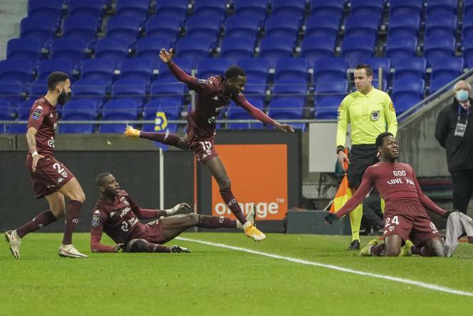 Le Messin Aaron Leya Iseka, auteur du seul but contre l'OL, à la 91e minute du match, le 17 janvier.