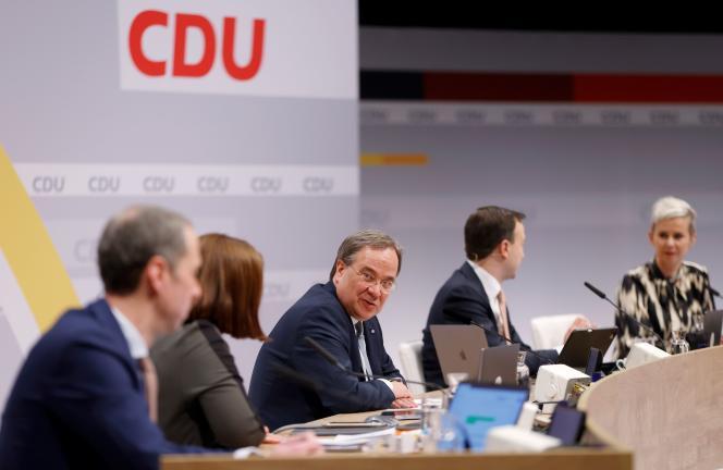 Armin Laschet, ministre-président du Land de Rhénanie-du-Nord-Westphalie, élu président de la CDU à Berlin, le 16 janvier.