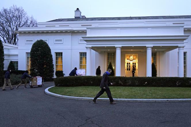 Déménagement en cours à la Maison Blanche, à Washington, DC, le 15 janvier.
