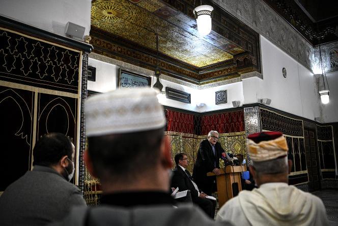 Chems-Eddine Hafiz, vice-président du CFCM, à la Grande Mosquée de Paris, le 2 novembre 2020.