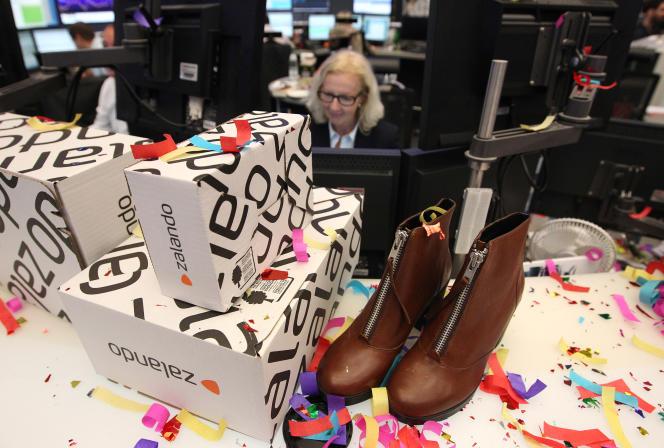 Des boîtes de chaussures Zalando, à l'occasion de l'entrée en Bourse du distributeur, en octobre 2014, à Francfort.