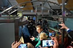 Alexeï Navalny lors de son arrestation à l'aéroport de Cheremetievo à Moscou, le 17 janvier.