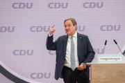 Discours d'Armin Laschet, le nouveau président de la CDU, après son élection à la tête du parti conservateur, à Berlin, le 16 janvier.